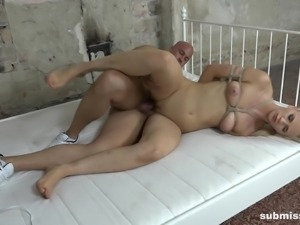 Tied up sex slave Katy Sky ravished by a nasty master