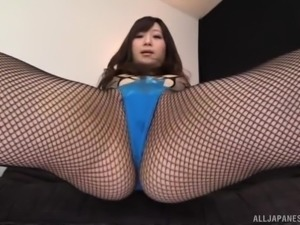 Solo model Japanese model with long hair enjoying toy