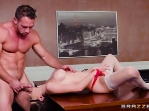 Ashly Anderson is a cutie with glasse yearning for a boss' cock