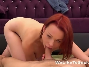 Sweetheart with small pale tits Rebeca rides and blows big cock