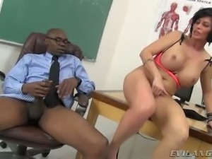 Black hungry boss and white slutty secretary have hot sex in the office
