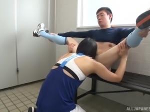 Cock-sucking Uchida Atsuko blowing a manhood having fun