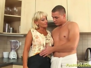 Hot blonde shaved stepmom gets rough fucked at her kitchen