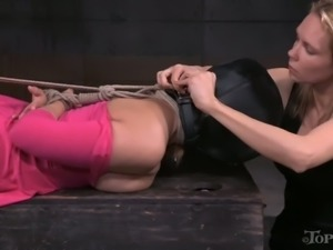 Really kinky bondage session with such a voracious Rain DeGrey