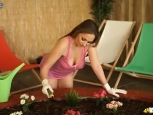 Hot like fire MILFie florist Sophia Delane flashes her sexy big titties