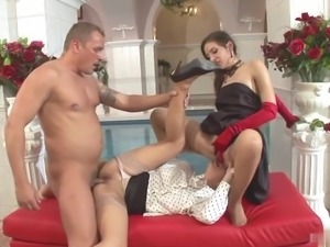 Two sexbombs are fucked by one cock