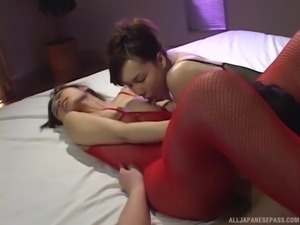 Japanese hottie Riko Tachibana having her throbbing pussy smashed