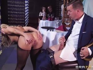 Amazing doggy style pussy draining with slutty Candice Dare