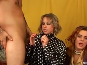 Group fucking with fully clothed girls ends in facial cumshots