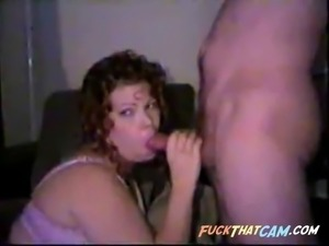 Chubby whore slobbers cock on her face