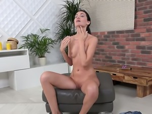 Toy addicted playful bitch called Mistica loves to pee in her shorts