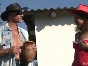 Village slut Jenny can ride fat cock of the farmer almost nonstop