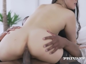 Incredibly loud Asian hoe Katana rides massive black cock on top