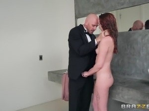 Alice Coxxx bends over for a quick shag in a bathroom