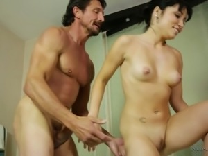 Sexy masseuse Rina Ellis can't keep her hands off of her client's dick