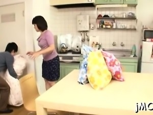 Asian mature gets her mounds and fur pie played with