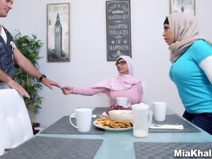 Two Arab girls have a crazy, hardcore threesome with a biker
