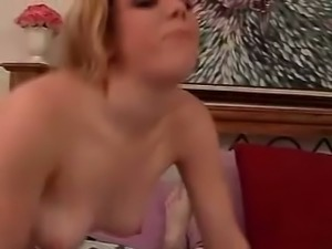 Blonde curvy white chick sucking dick of a white man