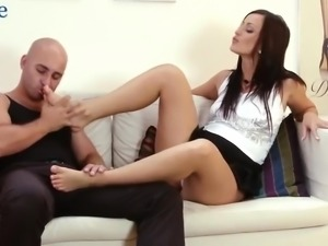 Bald headed bastard is able to cum on sexy feet of charming leggy babe