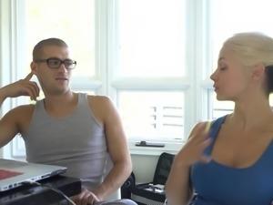 Hot blonde Sarah Vandella cannot resist a stallion's big dick