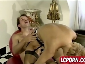 Vintage porn with couple having anal sex and later two lesbians fucking in...