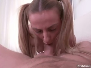 Pigtailed amazing titless Olivia Kiss greedily sucks strong cock