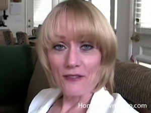 Mature horny blonde chokes on a fortunate man's boner