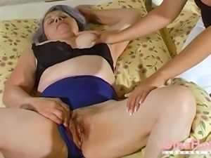 Extremely old gray haired grandma amateur lesbian striptease and toying