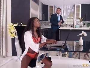 Ebony babe with a nice ass Ana Foxxx having her cunt pounded