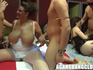 Big tits mature and her friend get fucked in rough gangbang.