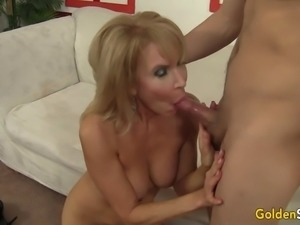 Mature and Horny Erica Lauren Blows and Fucks a Young Guy