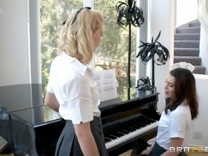 Rebecca More and Ella Hughes are cute schoolgirls who want to shag