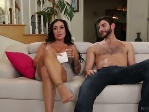 This brunette pornstar loves life on set and she loves sideways position