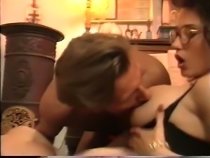 Busty and cute European white ladies share a dick on their knees