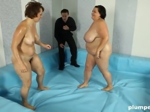 Big tits BBW yelling while fucked after cat fight