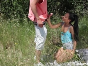 Cute brunette Apolonia seduced by a fellow for an outdoor fuck