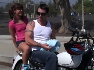 Cute young chick with pigtails gets lured and fucked by horny biker