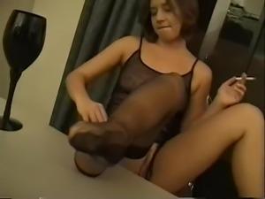 This smoking brunette