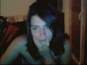 Lovely brunette chick shows me her perky nipples on webcam