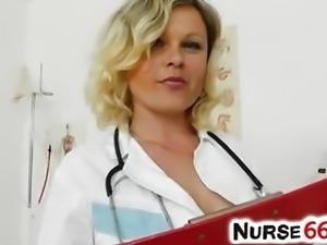 Natural big boobs Kathy Sweet is stockings nurse