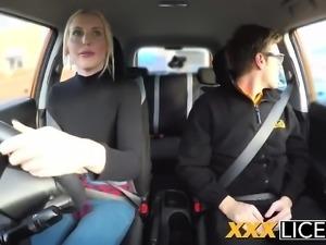 Blonde slut fails driving test, still passes