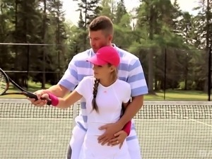 Busty Kathy Rose has a different way of play tennis then the usual one