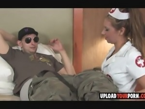 Very hot amateur nurse sucking my big stiff
