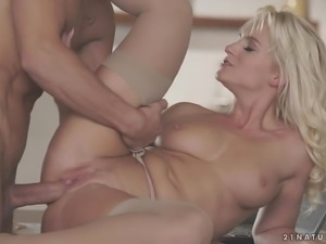 Classy wife Rossella Visconti puts on her stockings and fucks her husband