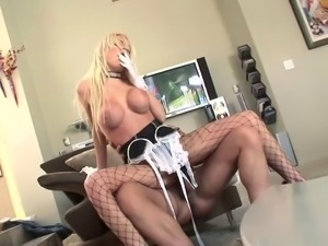 Attractive blonde babe in maid uniform moans while getting her pussy screwed...