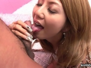 Glamorous Asian blonde cocksucker enjoys a rough doggy style fucking