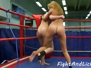 Gorgeous dykes pleasured after catfight