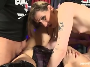 Dirty slut Sina Velvet gets quite properly mouthfucked by strong studs