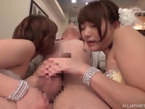 Amazing and horny Japanese girls in fishnets fucking with one guy