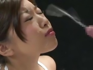 Huge explosive facial cumshot for asian girl